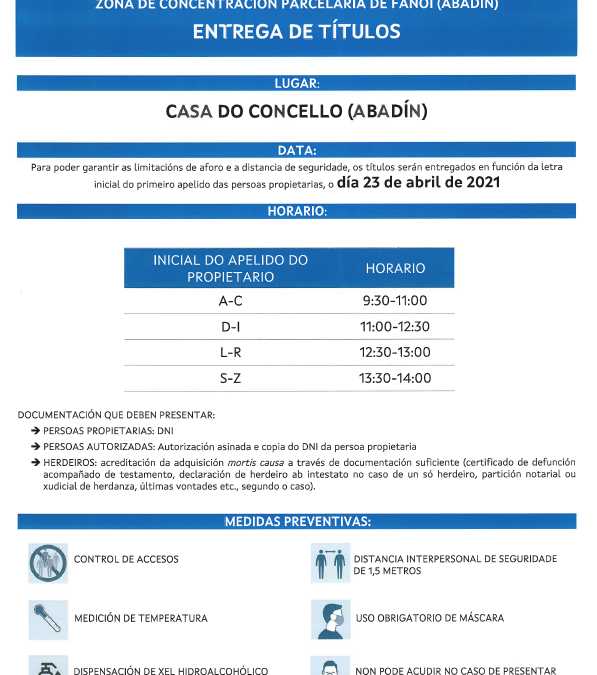 ENTREGA DE TÍTULOS – 23 DE ABRIL DE 2021